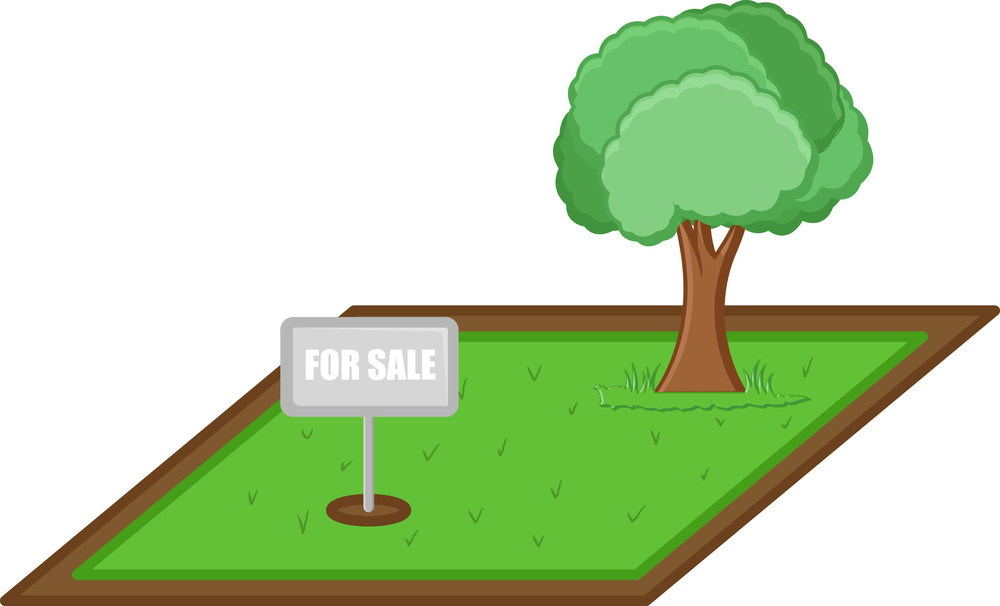 Land For Sale - Real Estate Concept - Vector Character Cartoon Illustration