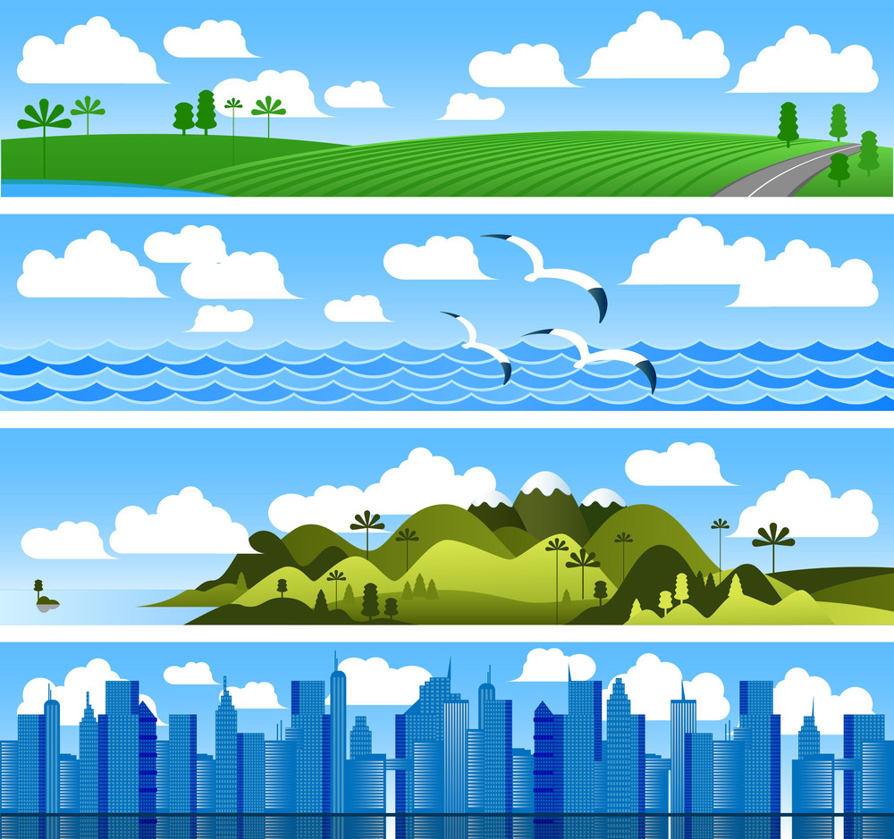 Landscape Vector Banners.
