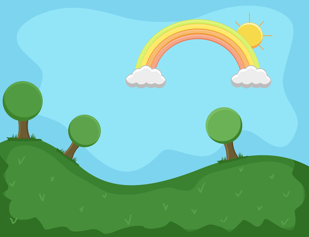 Landscape With Rainbow - Cartoon Background Vector