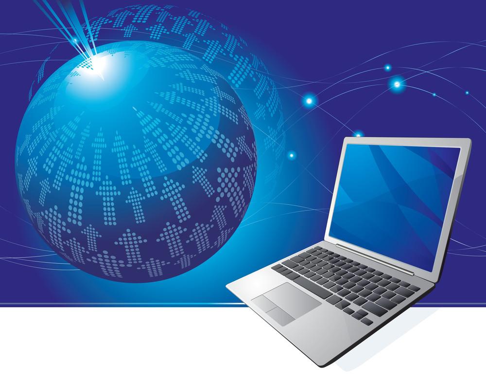 Laptop Background. Global Communication. Vector
