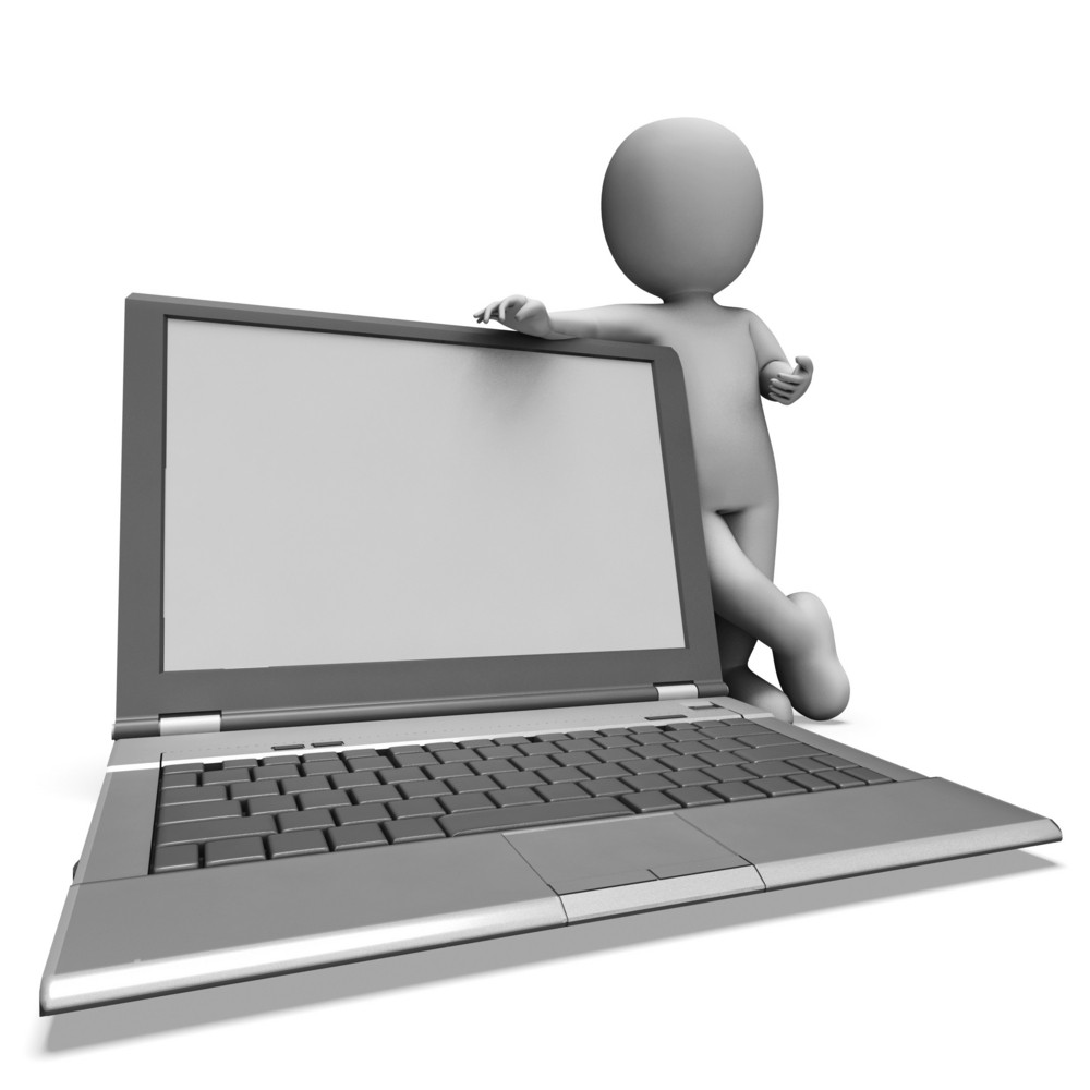 Laptop With Copyspace Shows Browsing Web Online