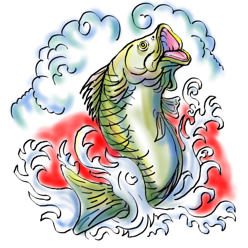 Largemouth Bass Fish Jumping Waves