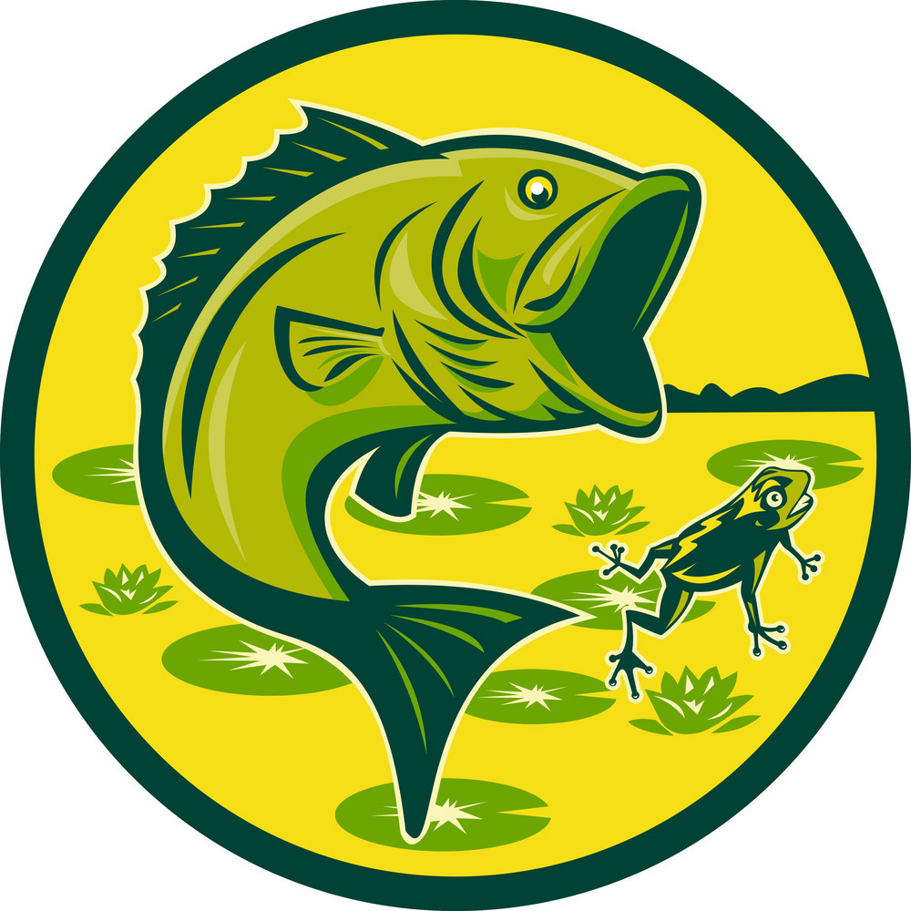 Largemouth Bass Jumping With Frog