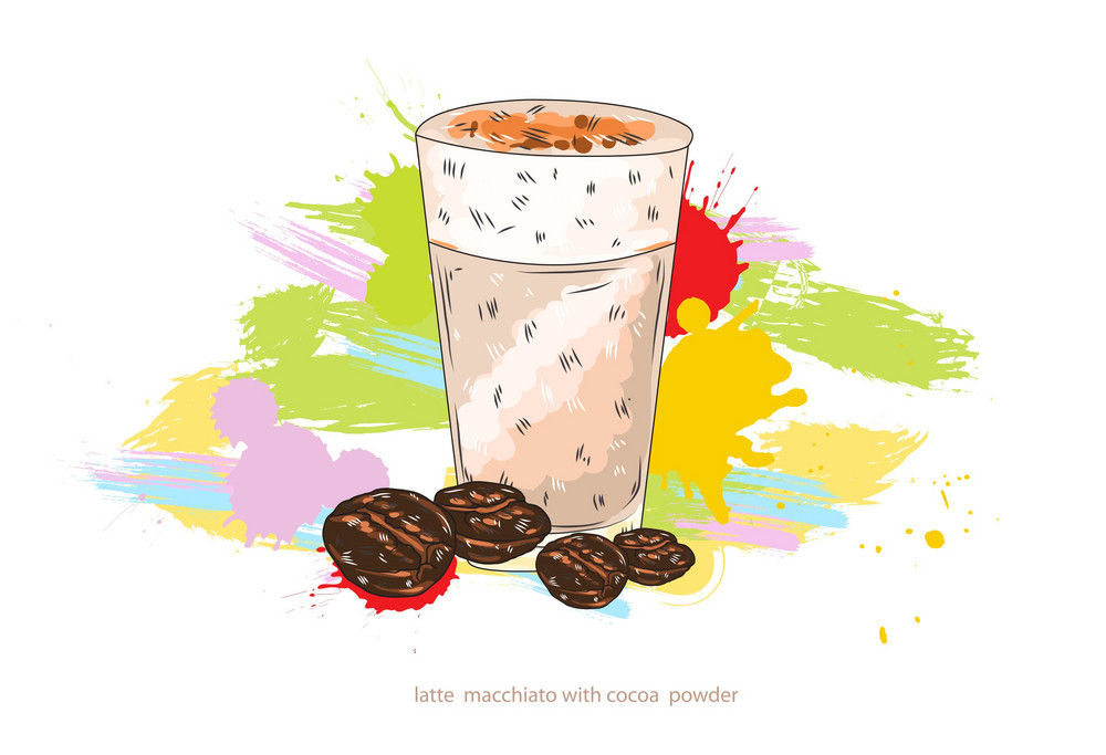 Latte Macchiato Vector  Illustration
