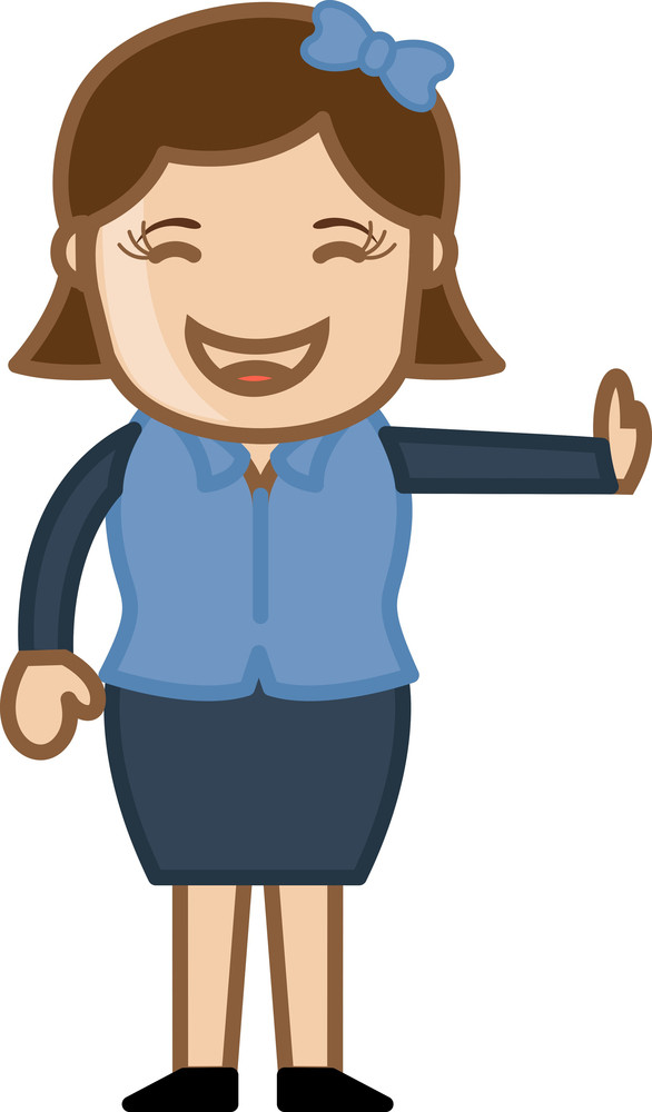 Laughing Female - Business Cartoon Character Vector