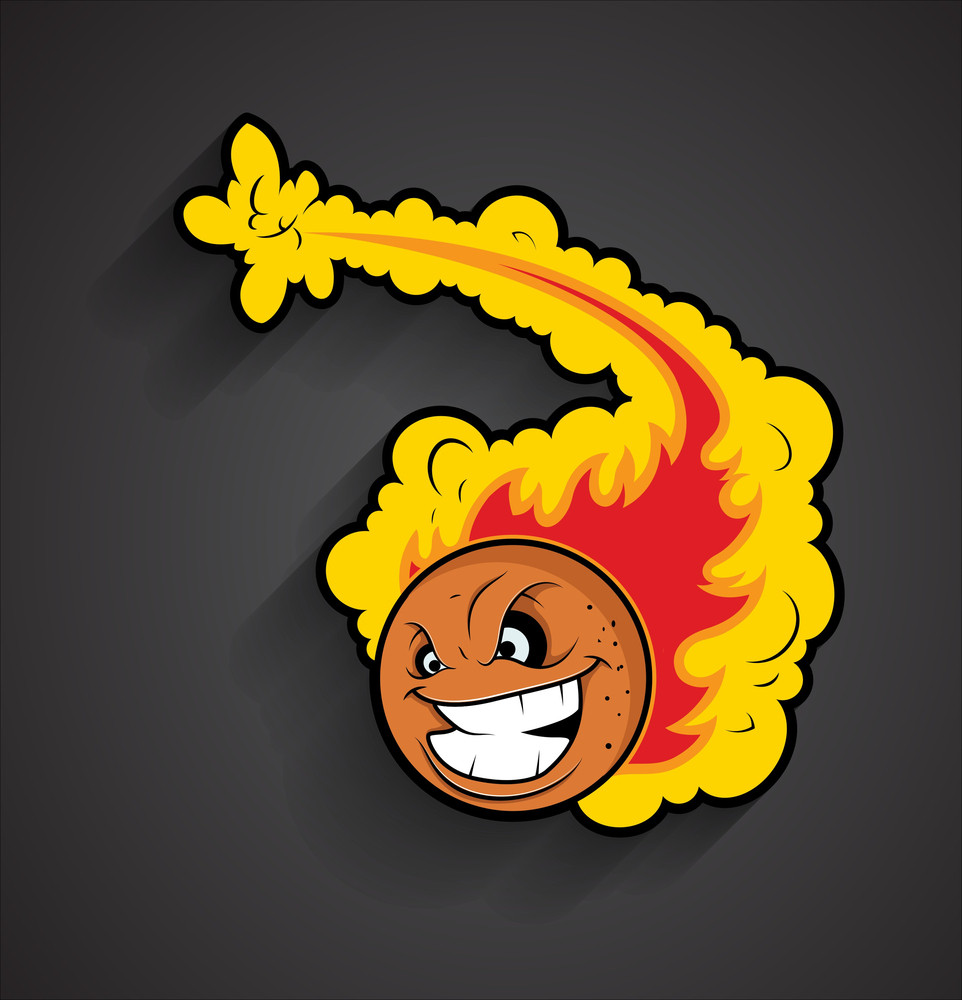 Laughing Fireball Vector Graphic