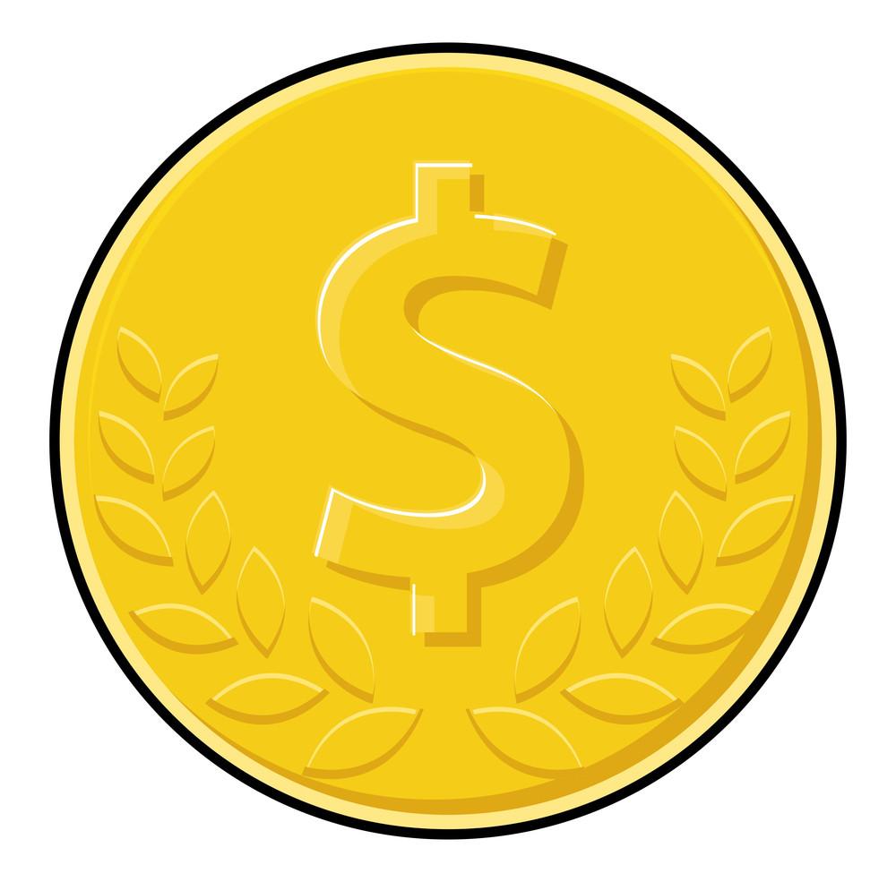 Laurel Wreath Dollar Coin Vector