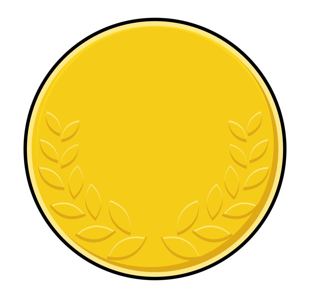 Laurel Wreath Symbol Yellow Coin