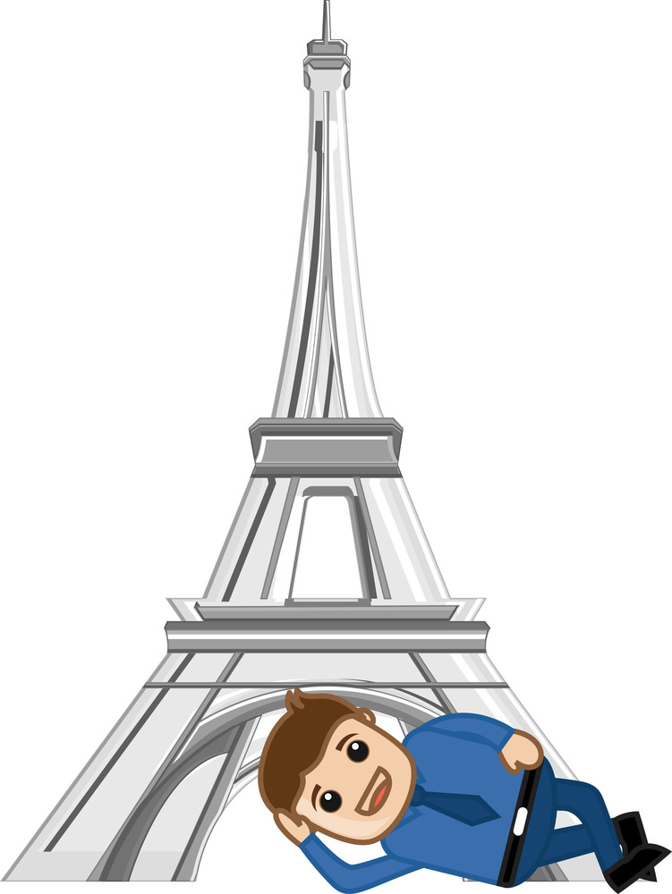 Laying Down In Front Of Eiffel Tower - Cartoon Vector