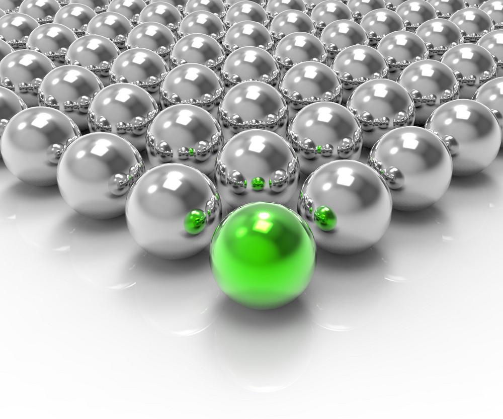 Leading Metallic Ball Showing Leadership Or Winning