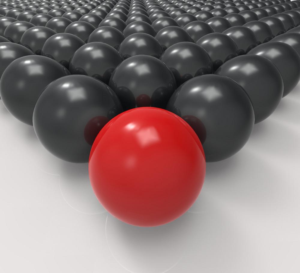Leading Metallic Ball Shows Leadership Or Acheiving