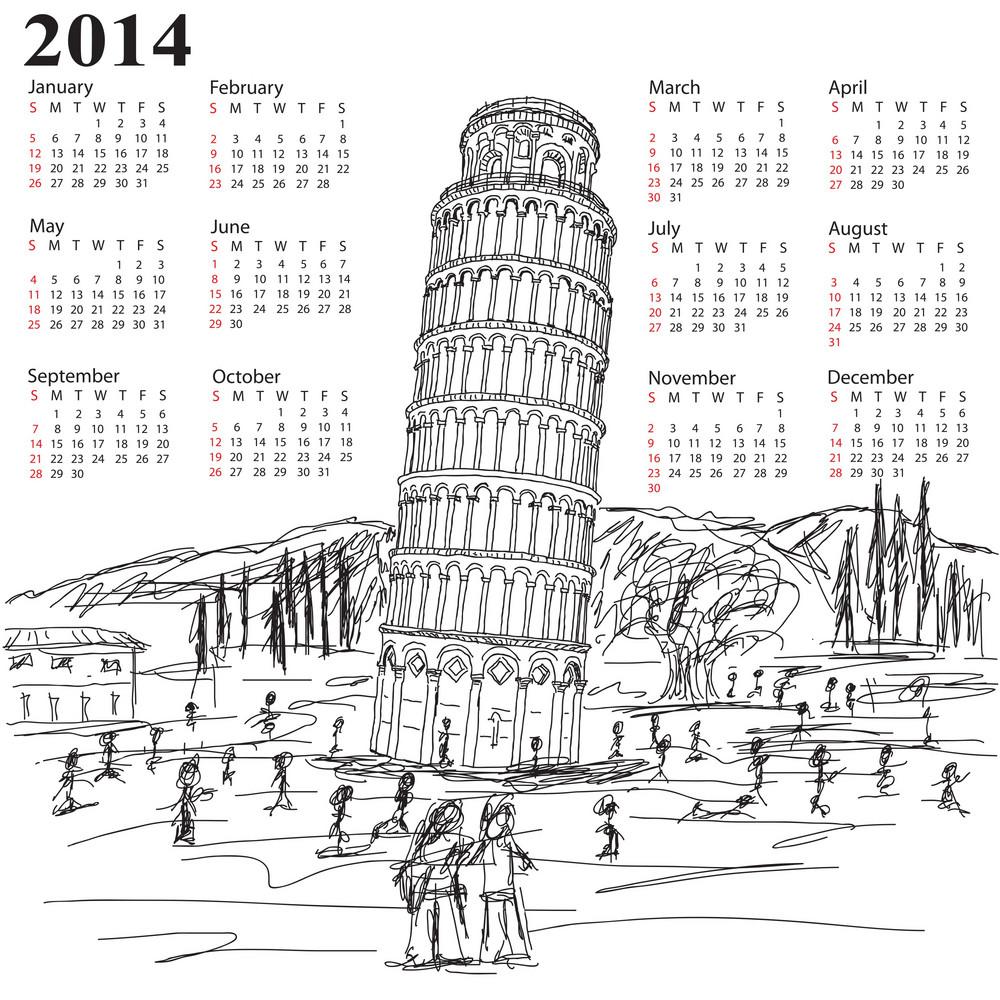 Leaning Tower Of Pisa 2014 Calendar