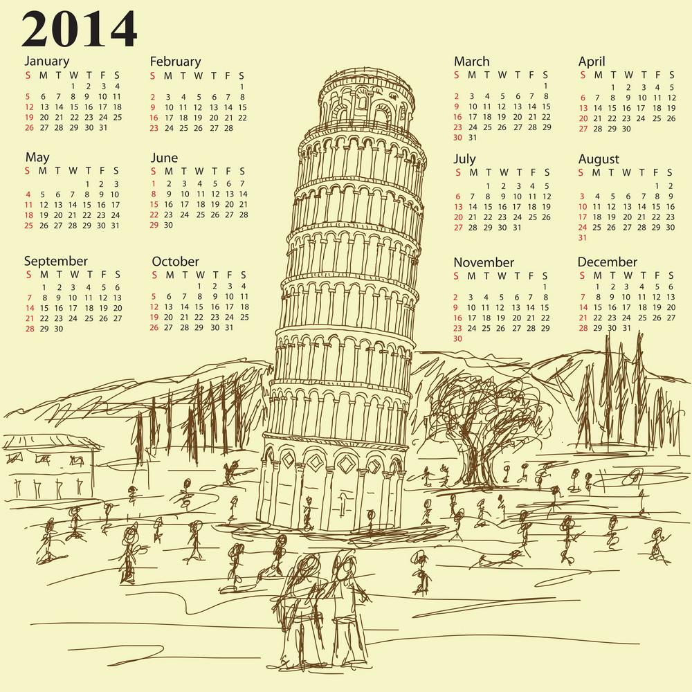 Leaning Tower Of Pisa 2014 Vintage Calendar