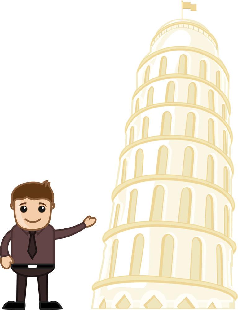 Leaning Tower Of Pisa Cartoon Vector