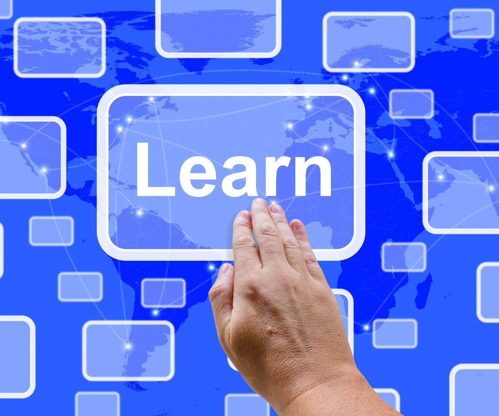 Learn Computer Button On Blue Screen Showing Online Learning And Education