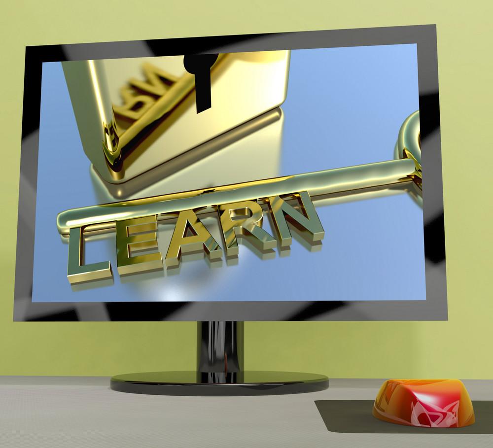 Learn Key On Computer Screen Showing Online Education