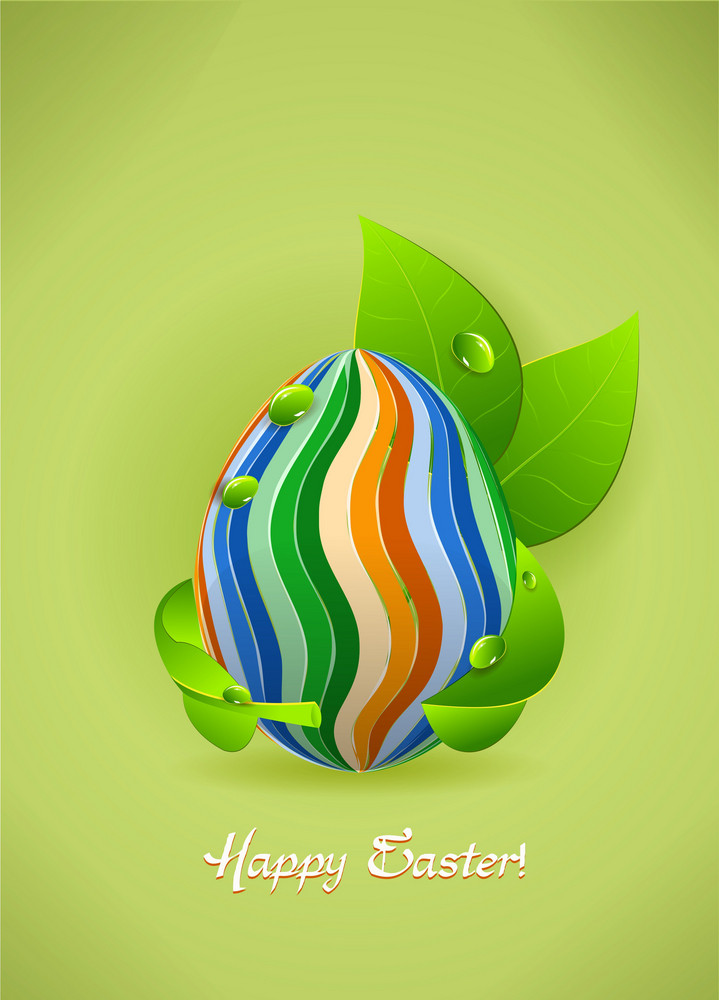 Leaves With Egg Vector Illustration