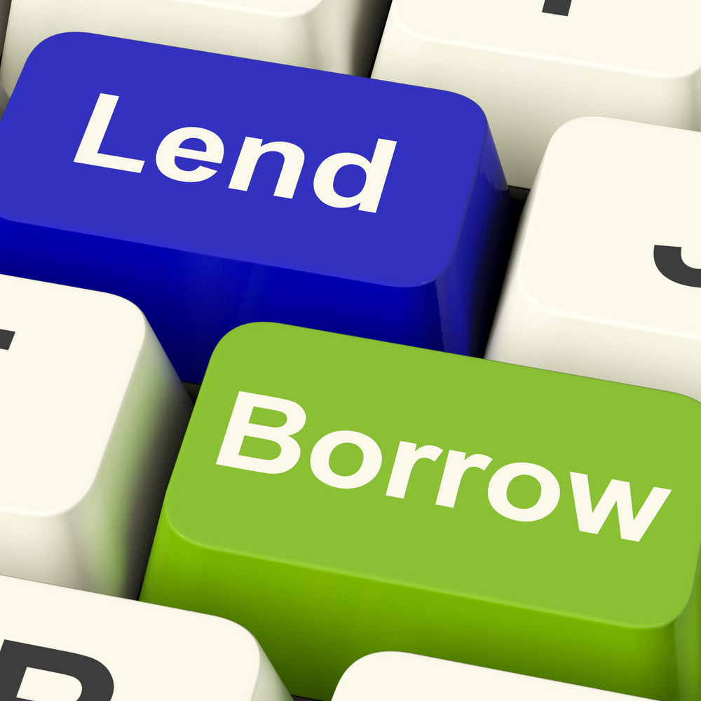 Lend And Borrow Keys Showing Borrowing Or Lending On The Internet