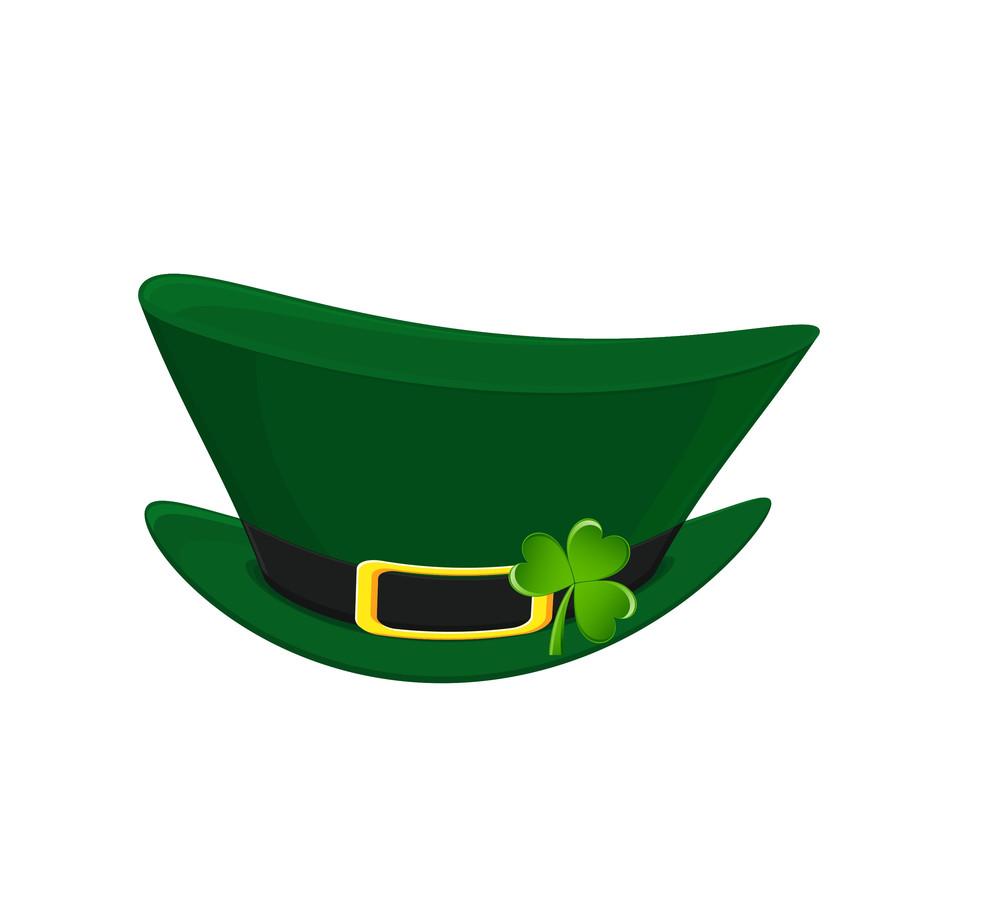 Leprechaun Hat With Clover Leaf Vector
