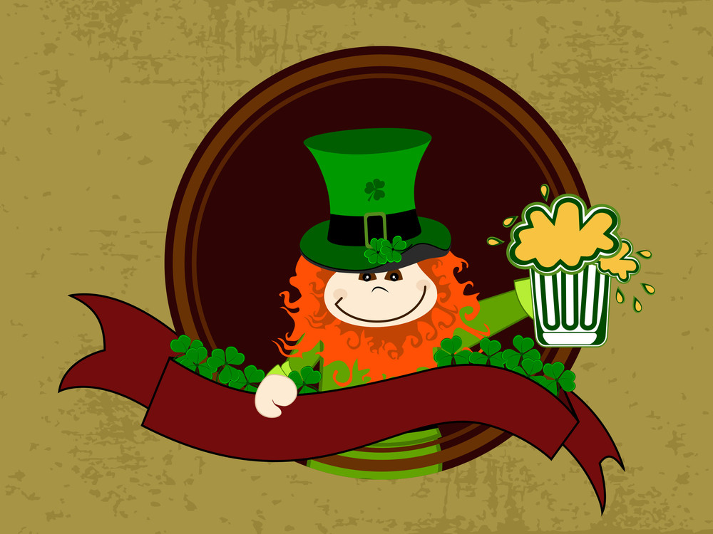 Leprechaun With Beer Mug Having On Red Ribbon And A Frame. Vector