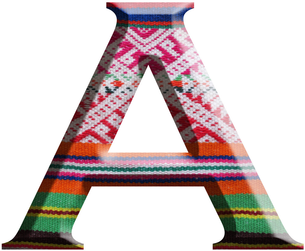 Letter A Made With Hand Made Woolen Fabric