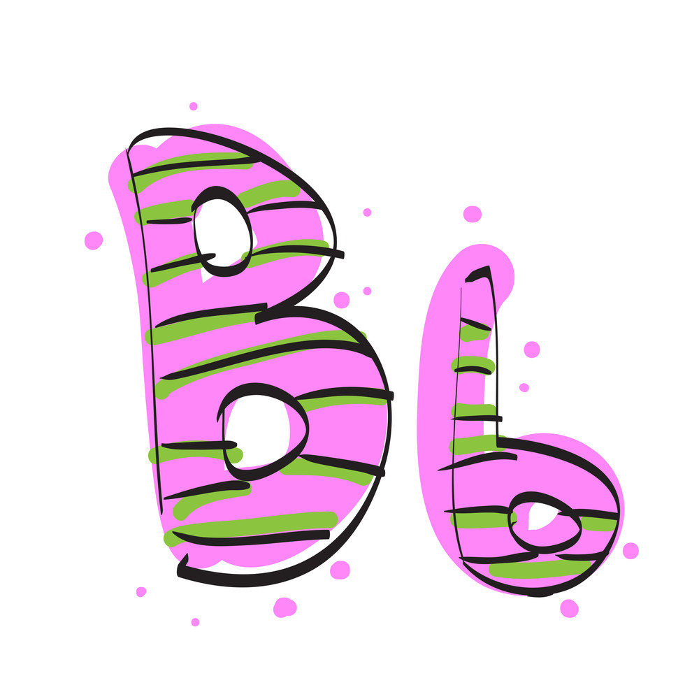 Letter B From Candy Alphabet. Vector Illustration