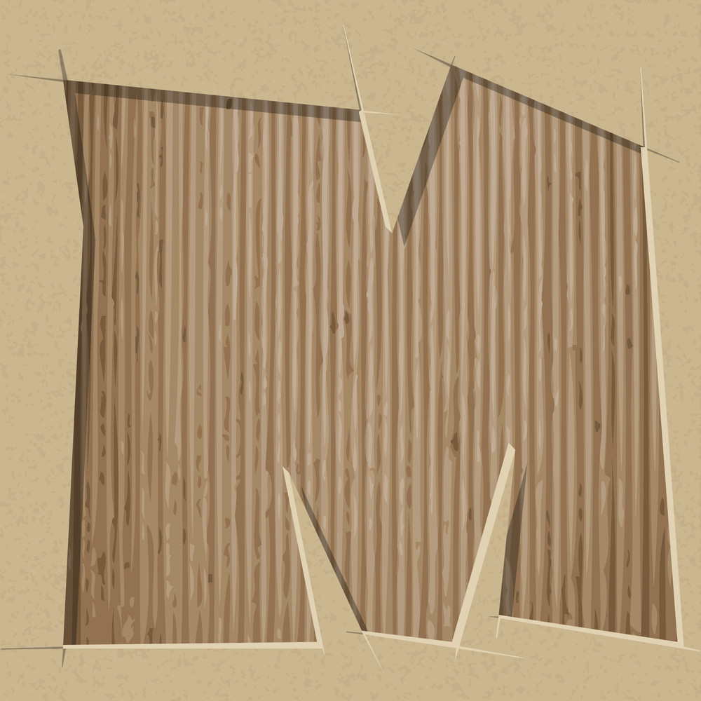 Letter Cut Out On A Cardboard. Vector Paper Alphabet