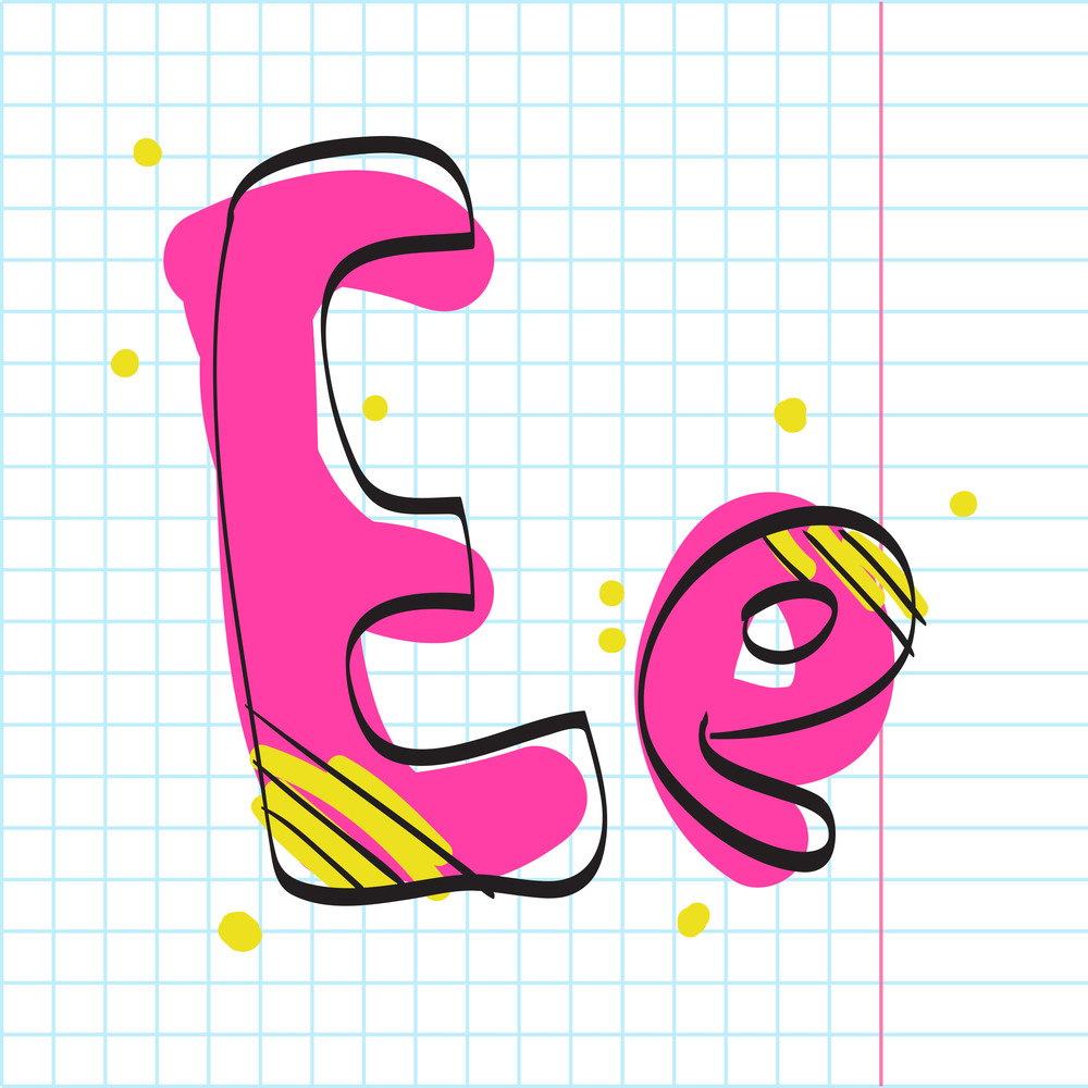 Letter E From Candy Alphabet. Vector Illustration