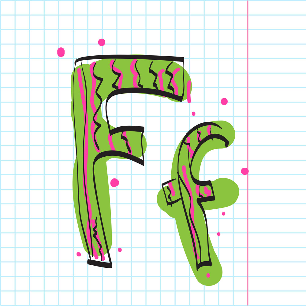 Letter F From Candy Alphabet. Vector Illustration