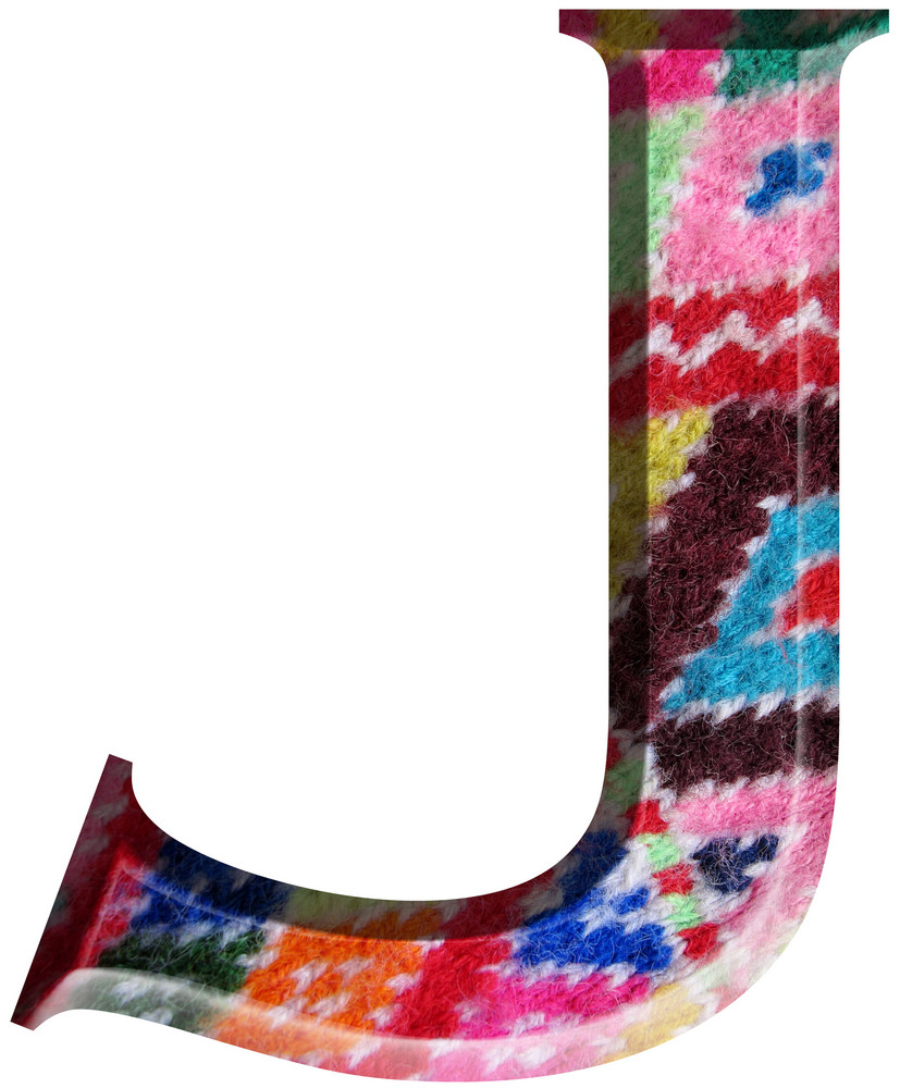 Letter J Made With Hand Made Woolen Fabric