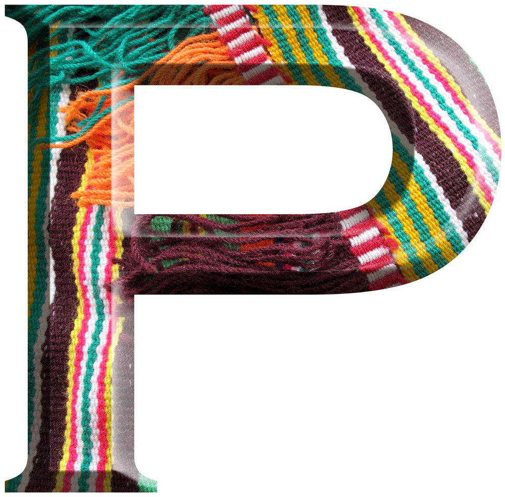 Letter P Made With Hand Made Woolen Fabric