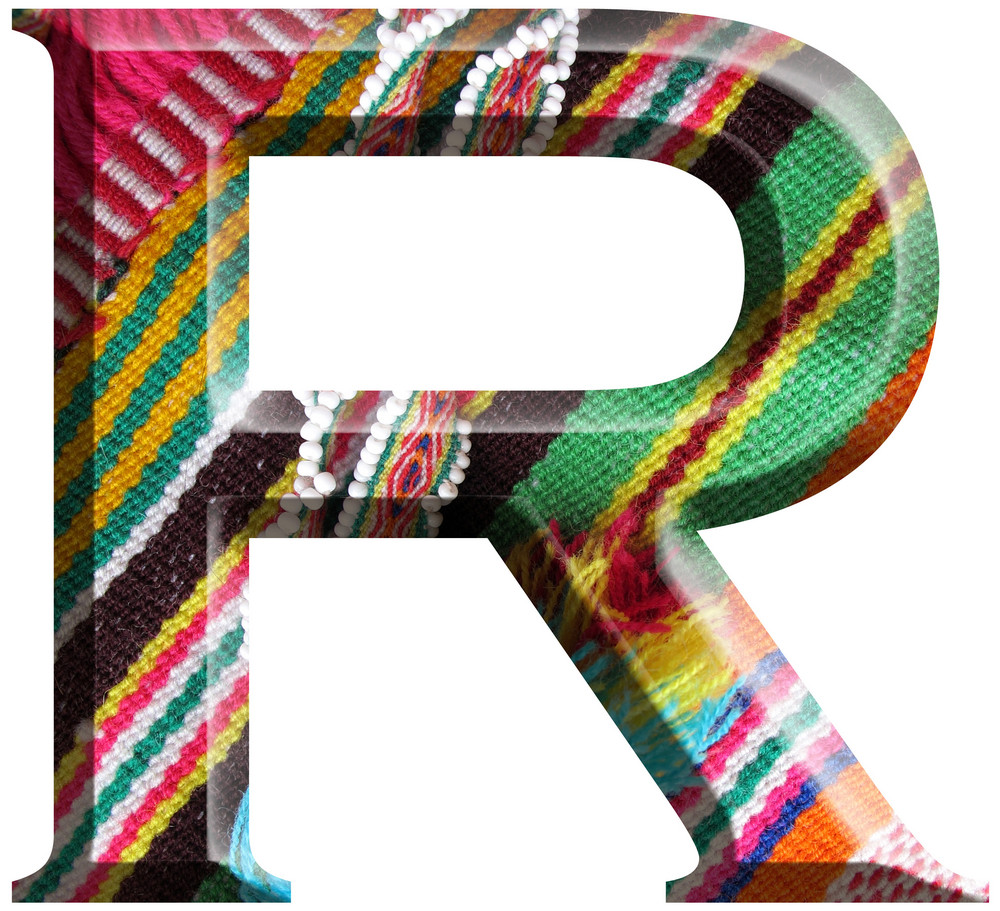 Letter R Made With Hand Made Woolen Fabric