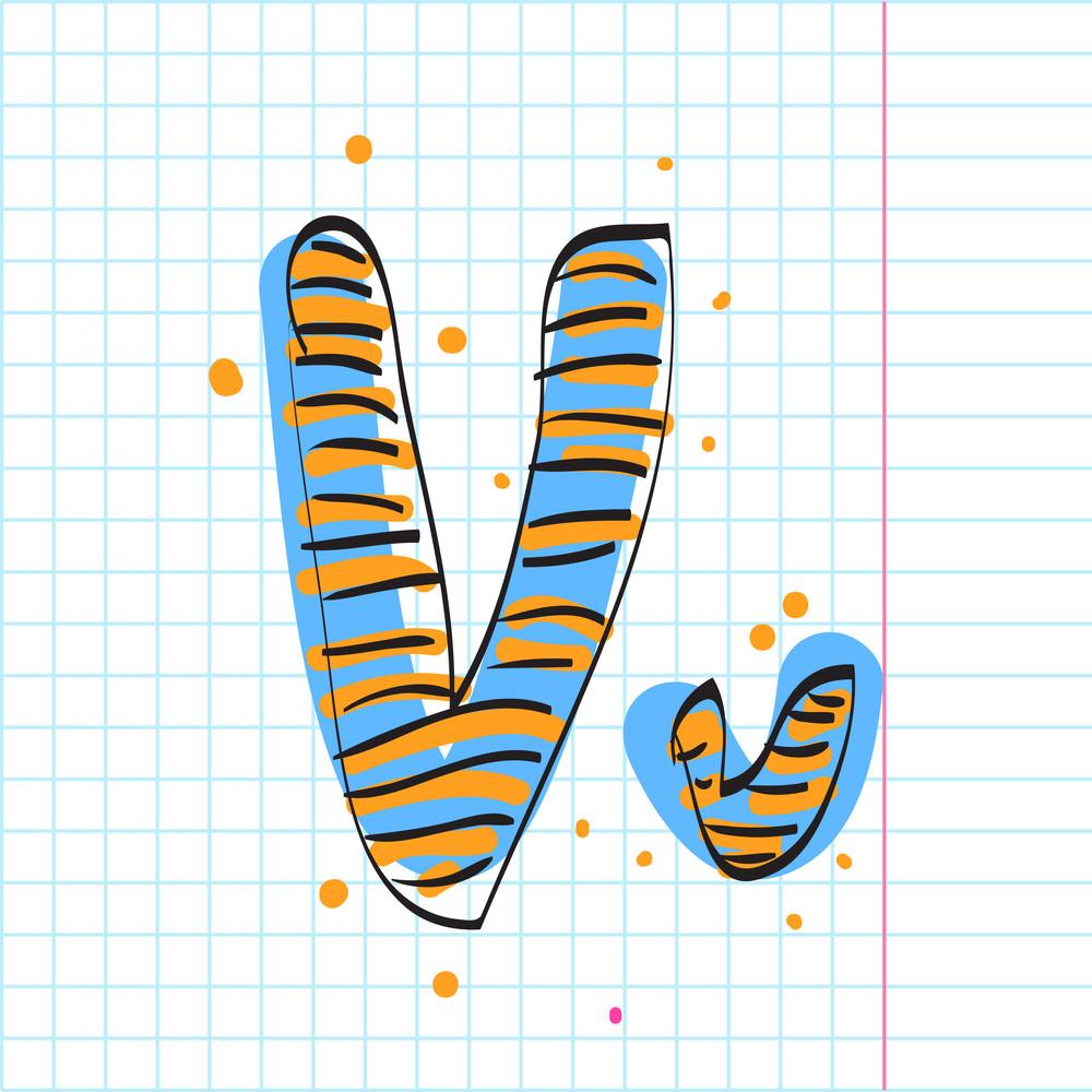 Letter V From Candy Alphabet. Vector Illustration