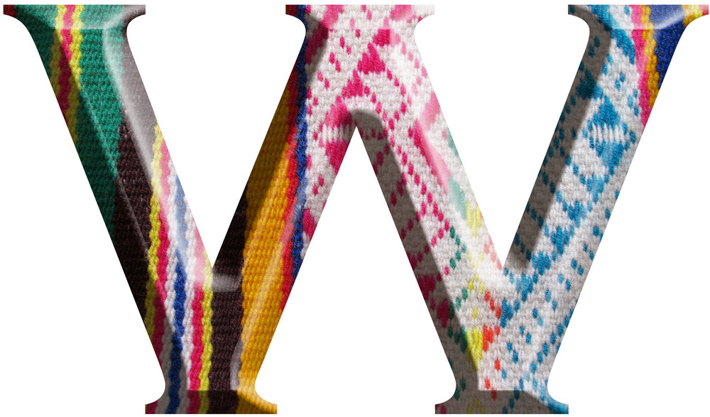 Letter W Made With Hand Made Woolen Fabric