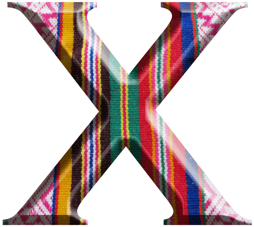 Letter X Made With Hand Made Woolen Fabric