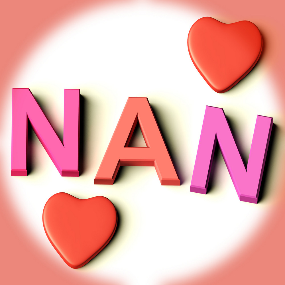 letters spelling nan with hearts as symbol for celebration and best