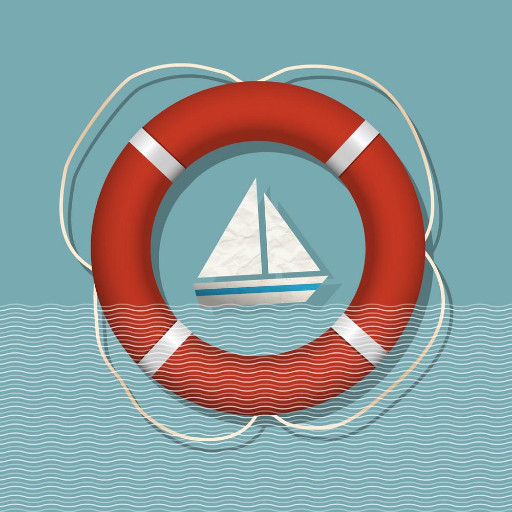Lifebuoy And Paper Sailboat