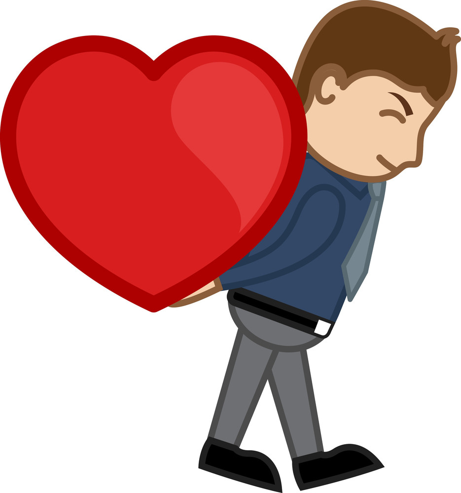 Lifting Heart Cartoon Character Man