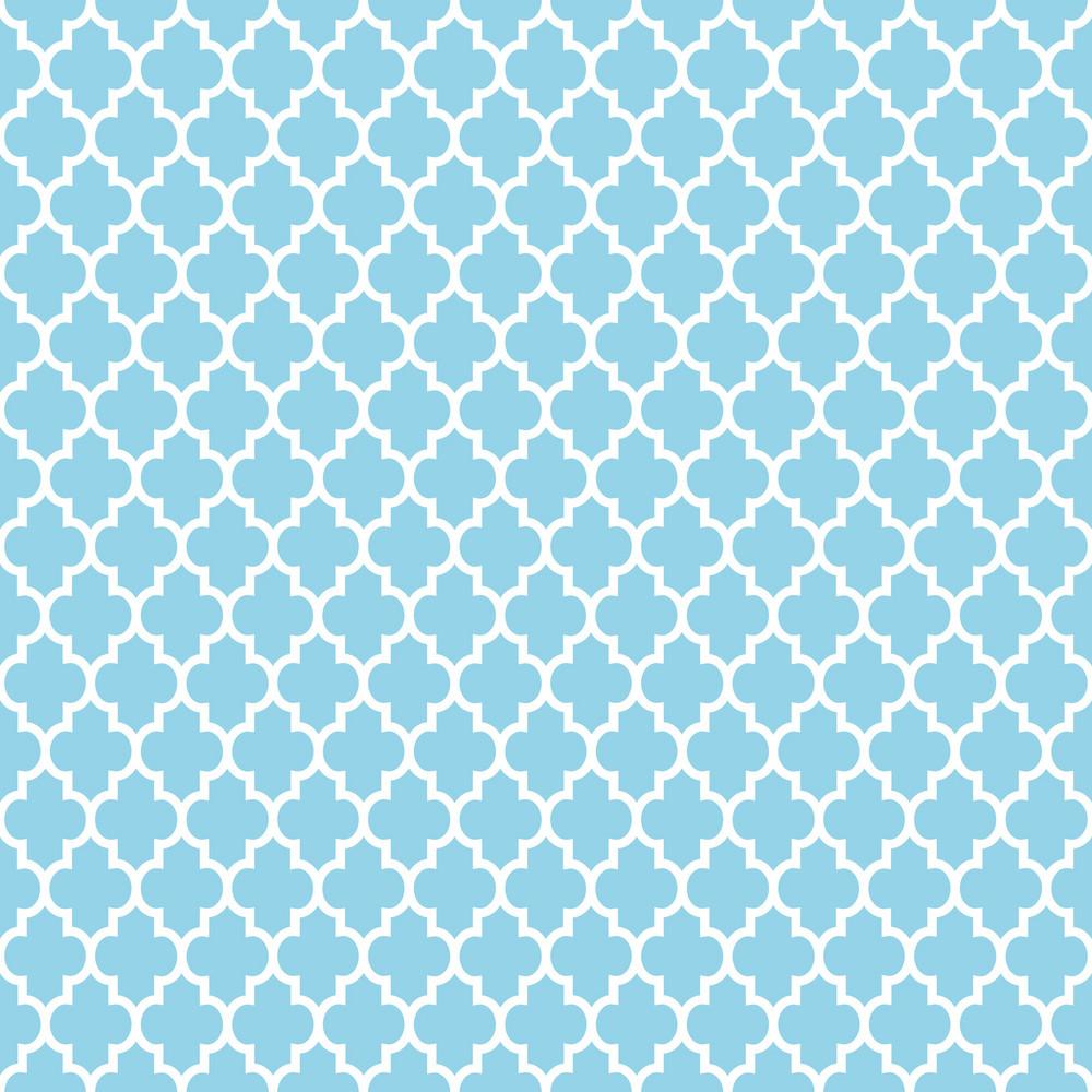 Light Blue And White Quatrefoil Pattern