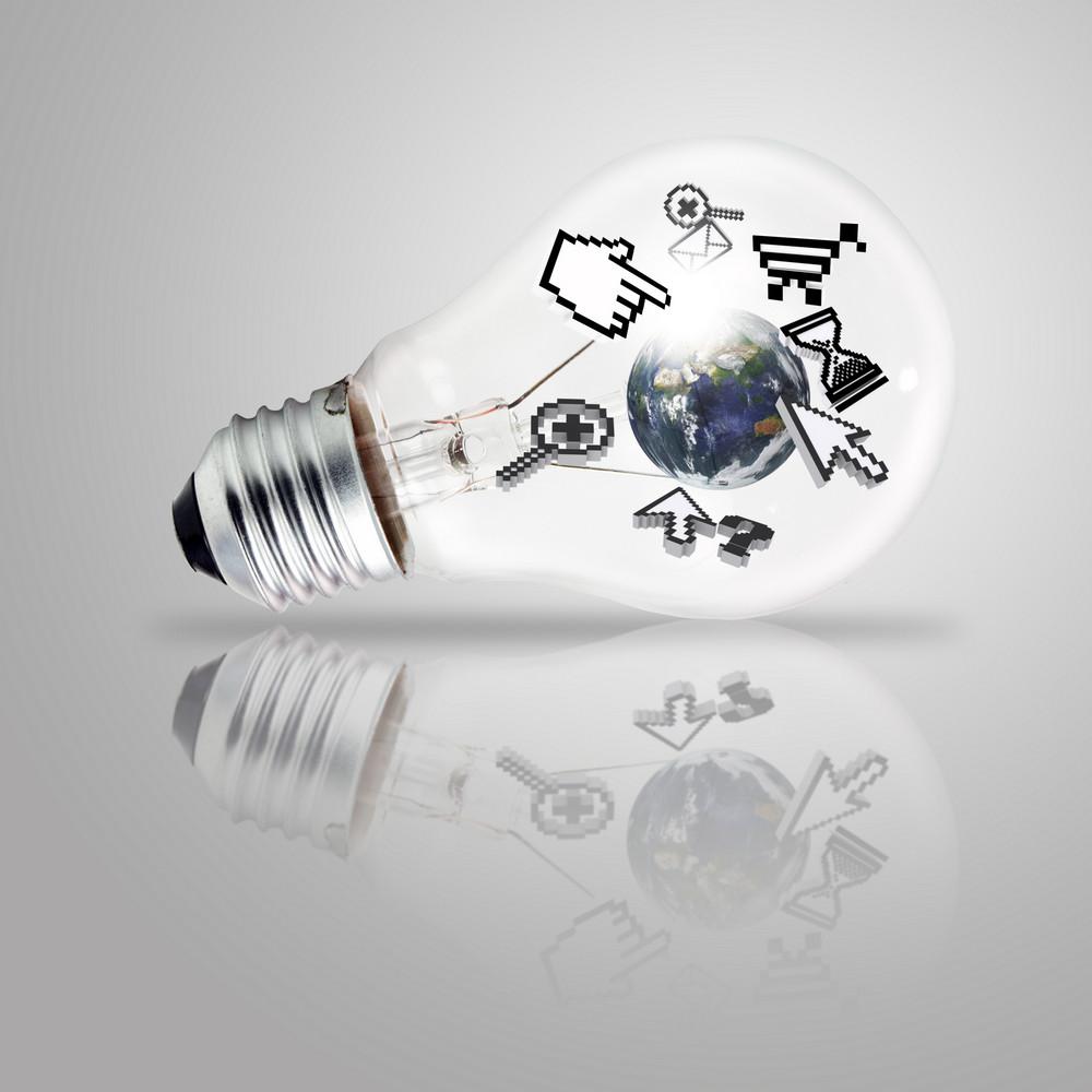 Light Bulb And Computer Cursor