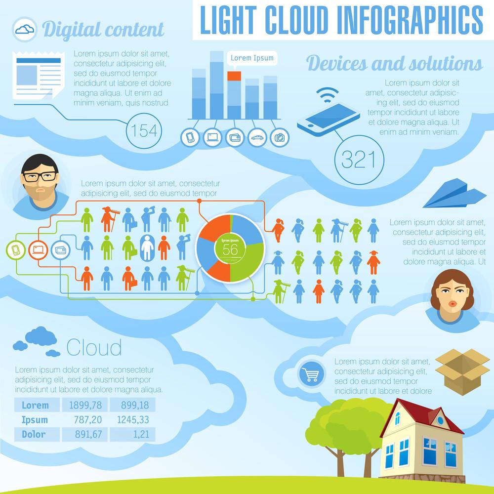 Light Cloud Infogrphic Design Template.