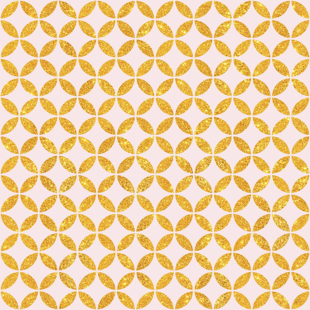 Light Pink And Gold Glitter Circles Pattern