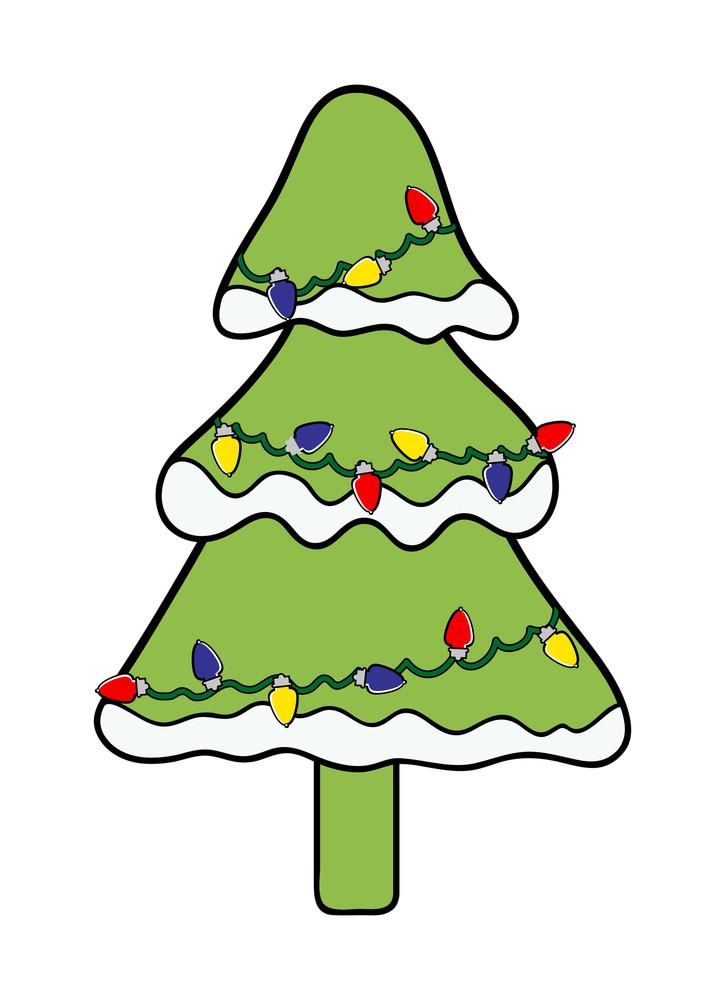 Lights On Snow Christmas Tree