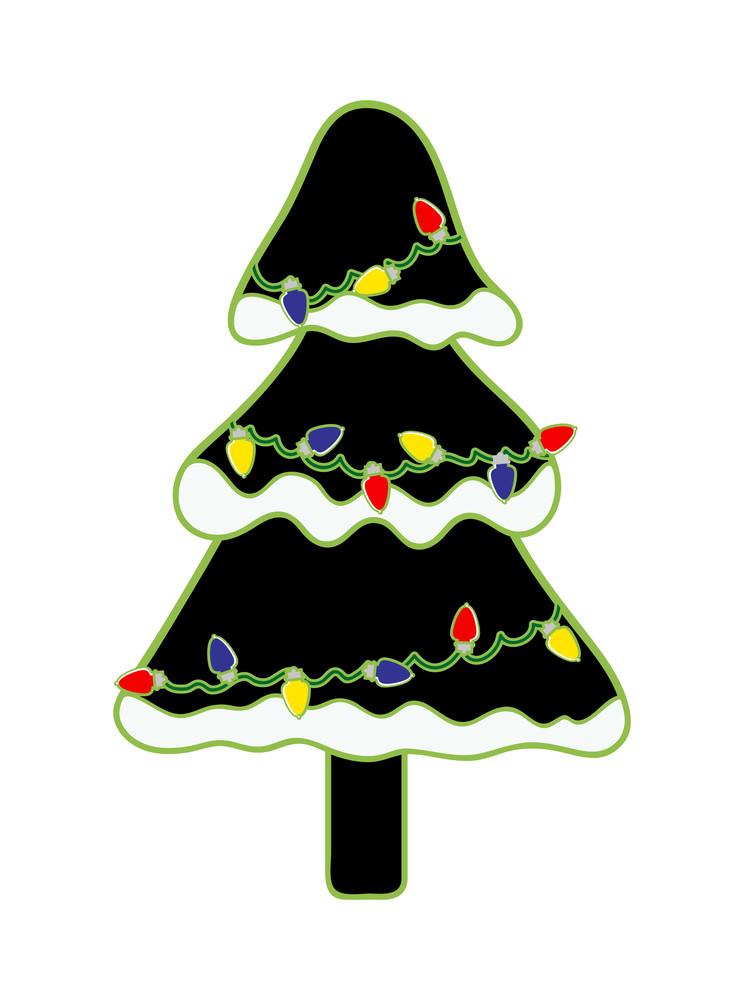 Lights On Winter Christmas Tree
