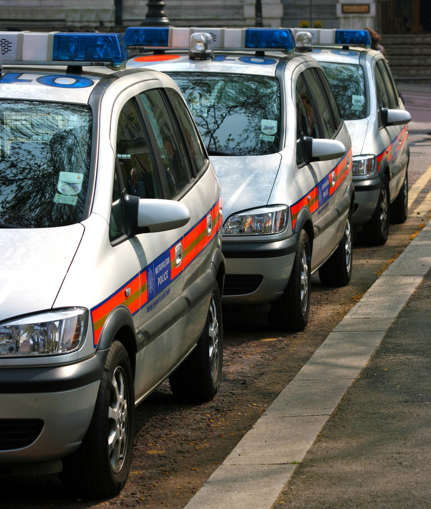 Line Of Police Cars In England Uk