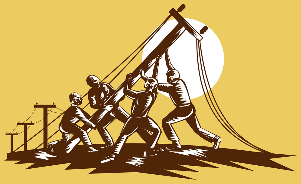 Linemen Raising Up Electricity Post