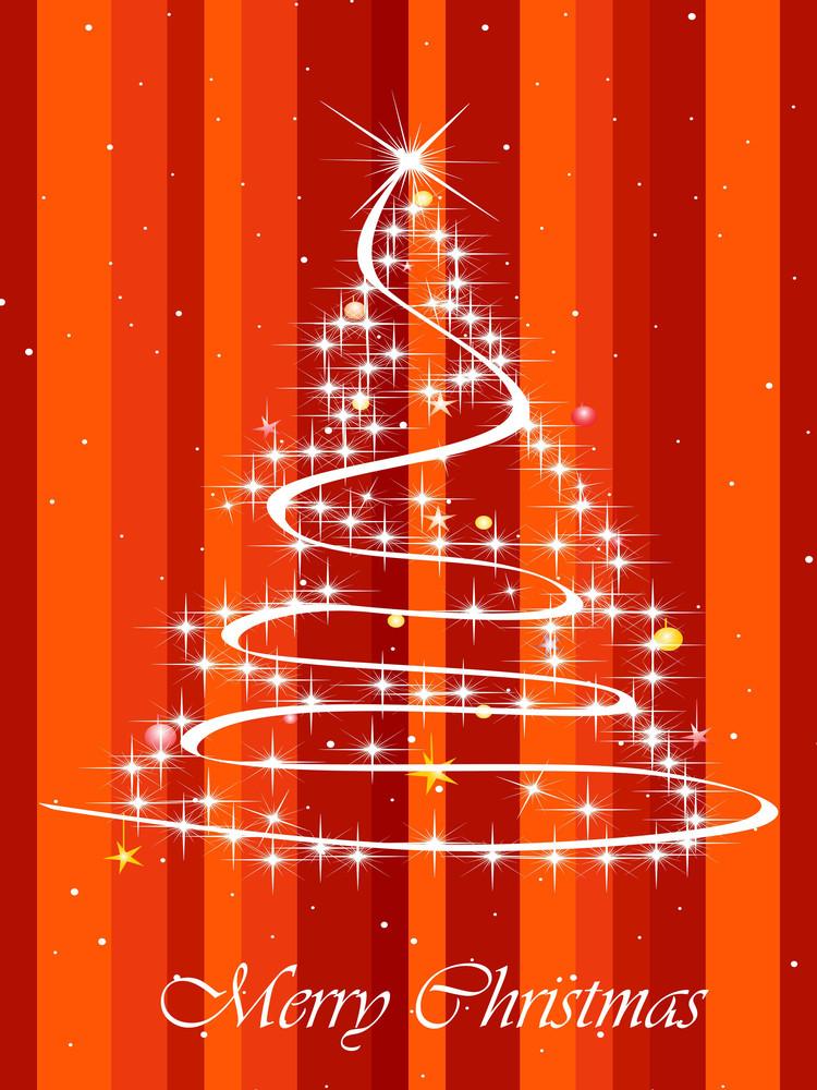 Lines Background With Shiny Xmas Tree