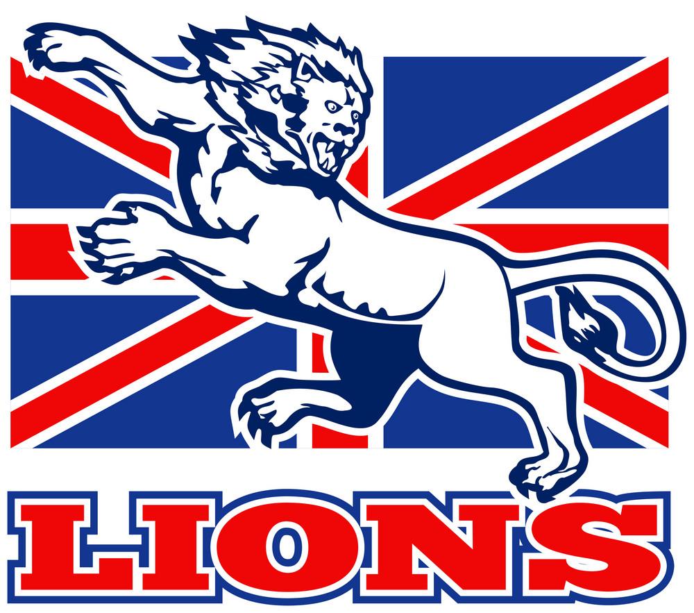 Lion Attacking Gb British Union Jack Flag