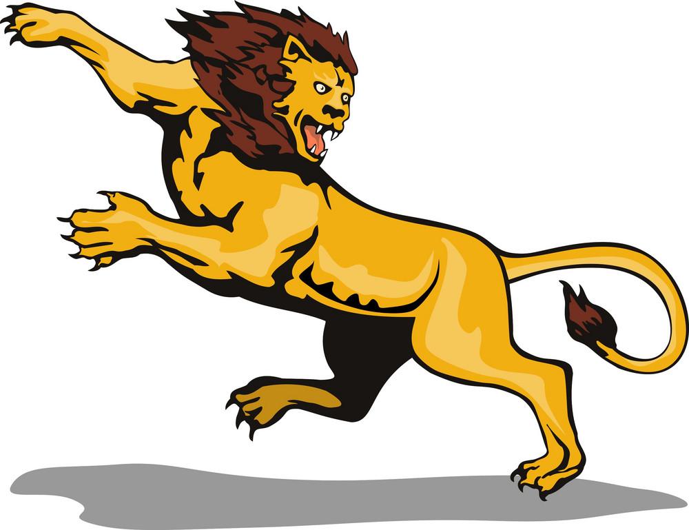 Lion Big Cat Attacking Retro