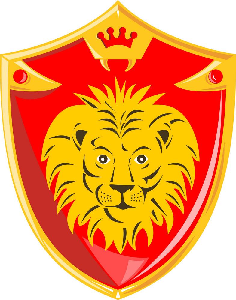 Lion Crown Shield Retro